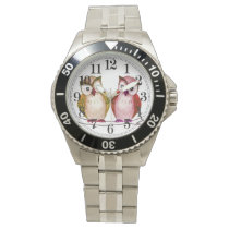 Owl couple watercolor wrist watch