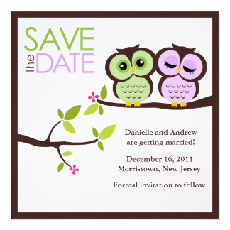 Owl Couple Wedding Save the Date Card