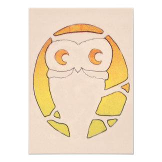 Owl Crescent Moon Tree Card