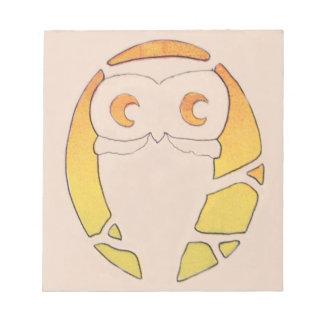 Owl Crescent Moon Tree Notepad