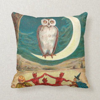 Owl Crescent Moon Witch Demon Creature Throw Pillow