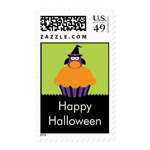 Owl Cupcake Happy Halloween Postage Stamps