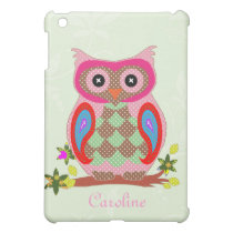 Owl custom name art colorful decorative ipad case