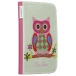 Owl custom name colorful art Kindle Folio Case