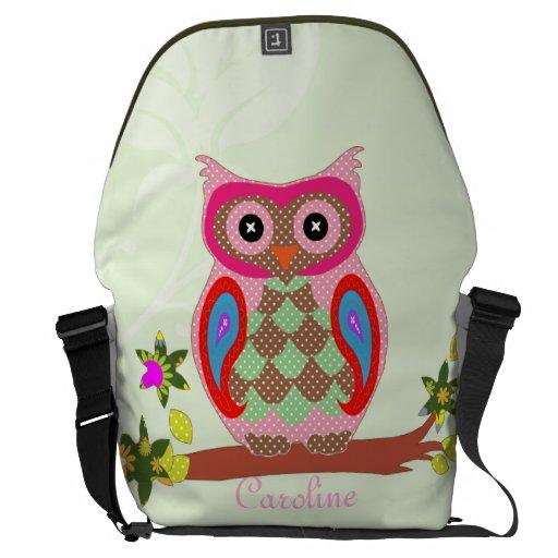 Owl custom name colorful art messenger bag