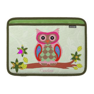 Owl custom name colorful decorative macbook sleeve