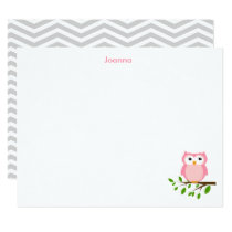 Owl Custom Thank you Note, Grey and Pink Card