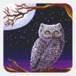 Owl Cute Funny Bird Art Wildlife Creationarts LRA Square Stickers