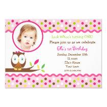 "Owl cute photo Custom  birthday Party invitations 5"" X 7"" Invitation Card"