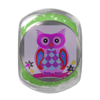 Owl Cute Rainbow Feathers Animal Bird Destiny Glass Candy Jar