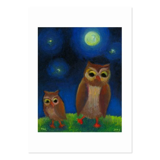 Owl dance lesson full moon night cute unique art large business cards (Pack of 100)