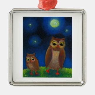 Owl dance lesson full moon night cute unique art christmas tree ornament