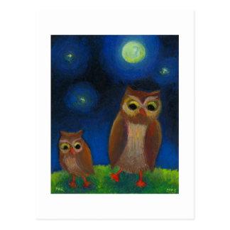 Owl dance lesson full moon night cute unique art postcard