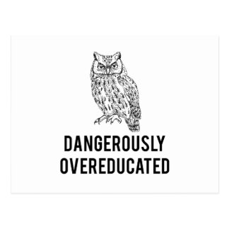 owl, dangerously overeducated postcard
