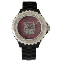 Owl Dark Pink Grunge Fancy Wristwatch