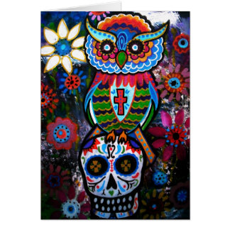 OWL DAY OF THE DEAD CARD