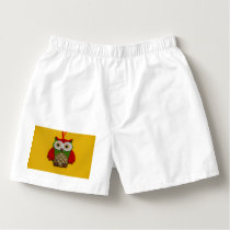 Owl decoration on a yellow background boxers