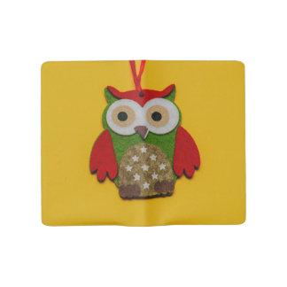 Owl decoration on a yellow background large moleskine notebook
