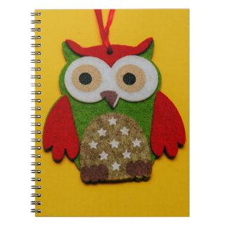 Owl decoration on a yellow background notebook