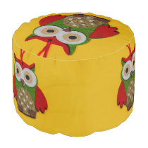 Owl decoration on a yellow background pouf