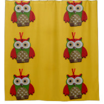 Owl decoration on a yellow background shower curtain