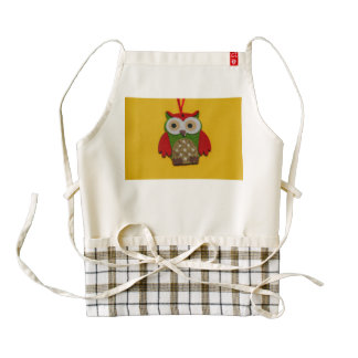 Owl decoration on a yellow background zazzle HEART apron