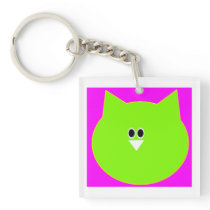 Owl design in pink and green add text key-ring keychain