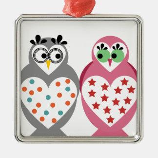 Owl Design Silver-Colored Square Decoration