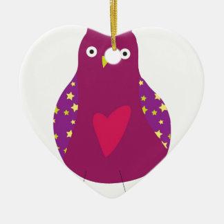 Owl Design Ceramic Heart Decoration