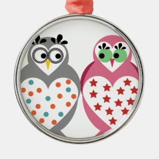 Owl Design Silver-Colored Round Decoration