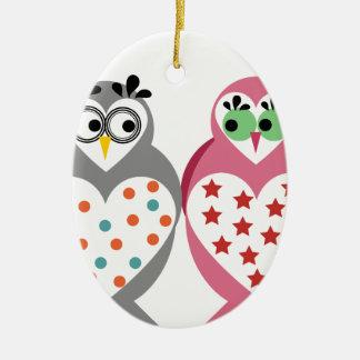 Owl Design Ceramic Oval Decoration