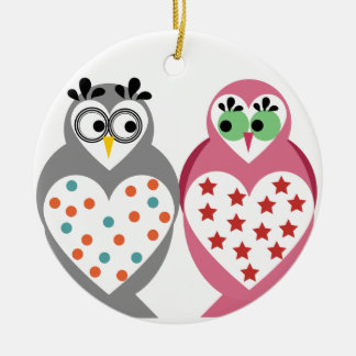 Owl Design Round Ceramic Decoration