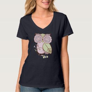 Owl Design w/ Pale Pink Purple Gray, Ladies V-Neck T-Shirt