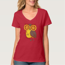 Owl Design w/ Red Yellow Brown, Ladies V-Neck T-Shirt