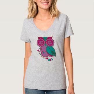 Owl Design with Purple Teal Pink, Ladies V-Neck T-Shirt
