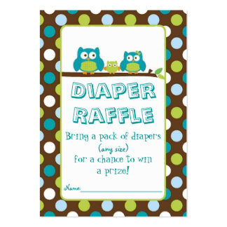 Owl Diaper Raffle Cards Large Business Cards (Pack Of 100)