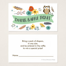 Owl Diaper Raffle Ticket-baby Shower Raffle Business Card at Zazzle