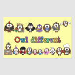 owl different rectangle stickers