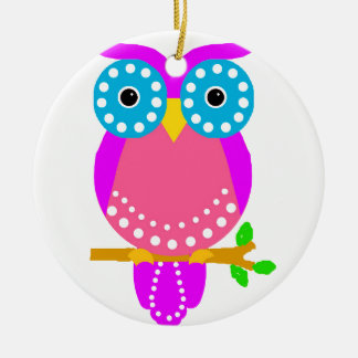Owl Dots Design Colours.jpg Double-Sided Ceramic Round Christmas Ornament