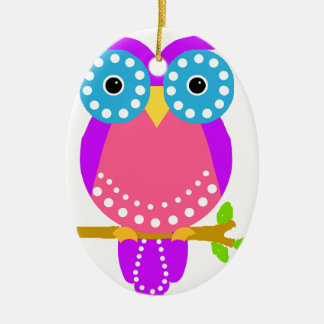 Owl Dots Design Colours.jpg Double-Sided Oval Ceramic Christmas Ornament