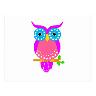Owl Dots Design Colours jpg Postcard