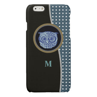 owl, dots & initial glossy iPhone 6 case