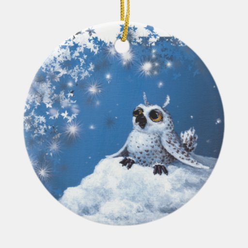 owl Double-Sided ceramic round christmas ornament
