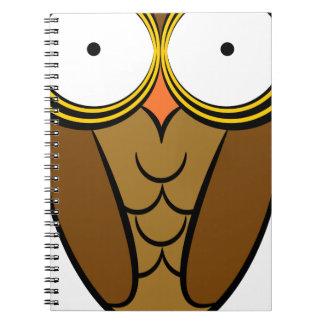 Owl Drawing Cartoon Character Spiral Notebook