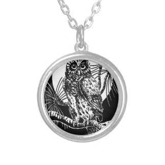 Owl Drawing Silver Plated Necklace
