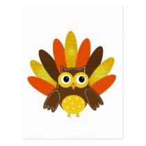 Owl dressed up as Turkey Postcard