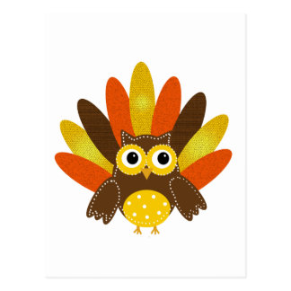 Owl dressed up as Turkey Postcard