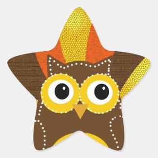 Owl dressed up as Turkey Star Sticker