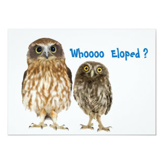 """Owl Duo Who Eloped 5"""" X 7"""" Invitation Card"""