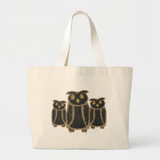 Owl - eagle owl - fogy large tote bag